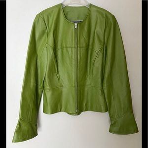 Shape Fx Leather Jacket, Lime Green, Size 12